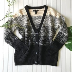 Forever 21 striped cream black button up cardigan